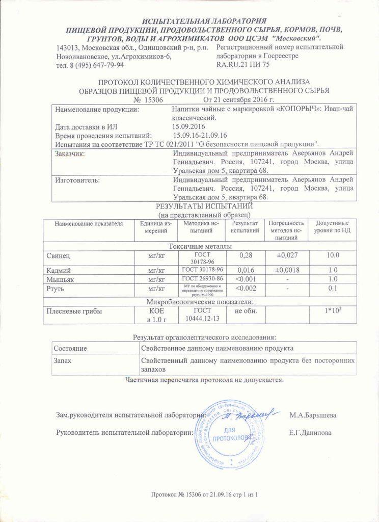Иван-чай Копорыч - Протокол испытаний